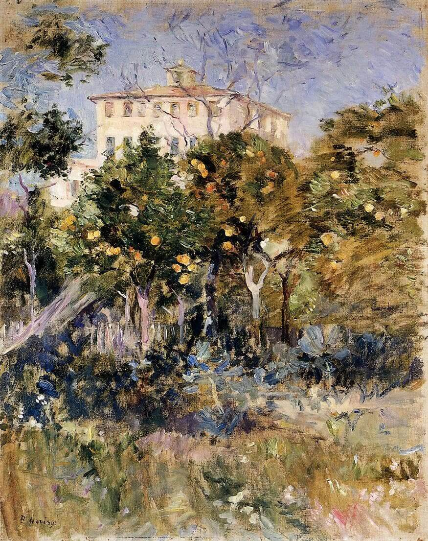 """Villa with Orange Trees, Nice"" by Berthe Morisot"